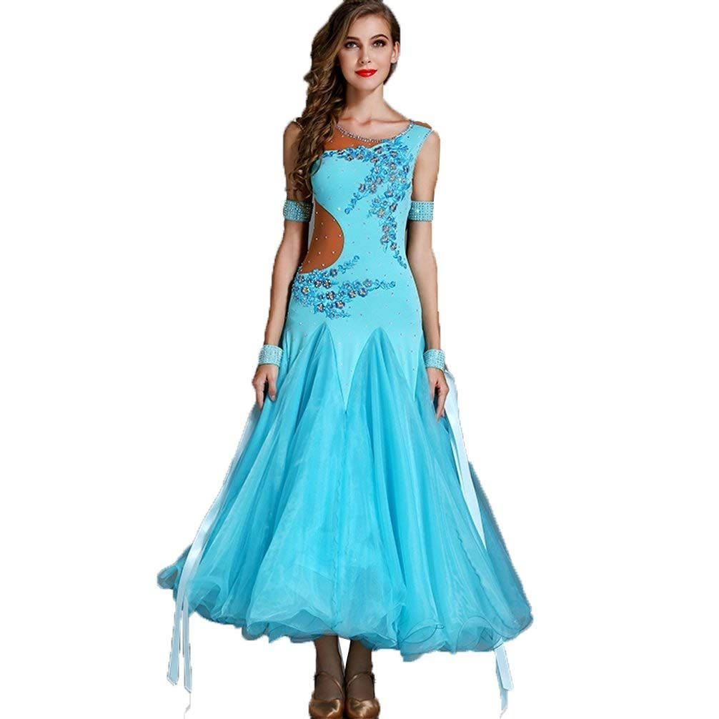 Shallow lake bluee L Adult Modern Dance Skirt Dress, Waltz Ballroom Dance Costume Competition Suit Diamond Performance Clothing