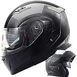 Orion Voyager Modular Flip-up Street Bike Cruiser Motorcycle Helmets with Drop-down Inner Sun Shield DOT (XL, Gloss Black)
