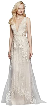 Davids Bridal Tulle A Line Wedding Dress With Plunging V Neck Style SWG722