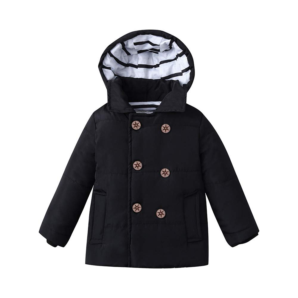 SNOWSONG Baby Girls Boys' Winter Fleece Jackets Toddler Hooded Cotton Dress Warm Lined Coat Outwear Black by SNOWSONG