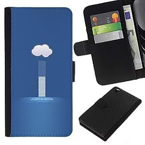 KLONGSHOP // Tirón de la caja Cartera de cuero con ranuras para tarjetas - nube tiempo hoy - HTC DESIRE 816 //