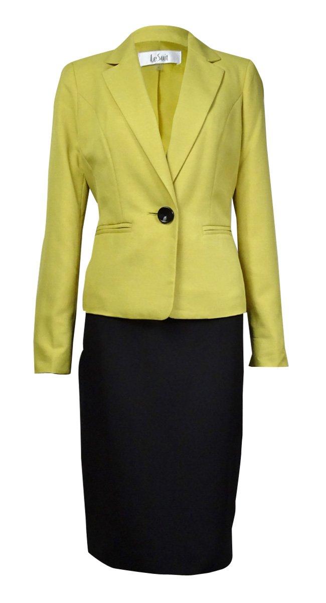Le Suit Women's 1 Button Glazed Melange Jacket and Skirt Suit Set, Citrine/Black, 12