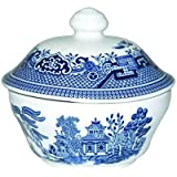 Churchill China Blue Willow Covered Sugar Bowl