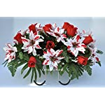 Cemetery-Headstone-Decoration-for-Christmas-with-Peppermint-Poinsettias-and-Red-Roses-as-a-Saddle