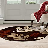 Cheap Bedford Home Opus Falling Leaves Area Round Rug, 5′, Burgundy