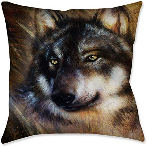 Wolf Illustration Toss Pillow
