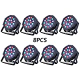 Nurxiovo LED Par Lights Uplights RGB Stage Lighting 18x3W DMX Lighting with Sound Control 24W 7 Channel for DJ Party Church Wedding Clubs Lighting 8 Pack