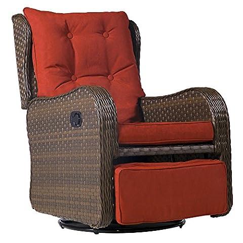 Cloud Mountain Patio Wicker 360 Degree Swivel Gliding Rocking Rattan Cushioned Chair Outdoor Swing Club Chair Garden Glider Lounge Chair, Brick (Bench Cushion Indoor 40 Inch)