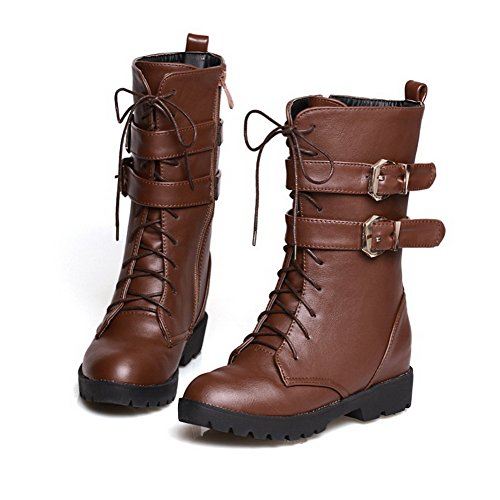 AmoonyFashion Womens Zipper Low Heels PU Solid Low-Top Boots Brown BgooIM6O3