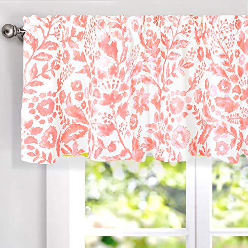 DriftAway Julia Watercolor Blooming Flower Floral Lined Thermal Insulated Energy Saving Window Curtain Valance for Living Room Bedroom 2 Layers Rod Pocket 52 Inch by 18 Inch Plus 2 Inch Header Blush (Window Valance Topper)