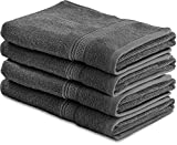 Cotton Large Hand Towels (Grey, 4-Pack,16 x 28 inches) - Multipurpose Use for Bath, Hand, Face, Gym and Spa - By Utopia Towels