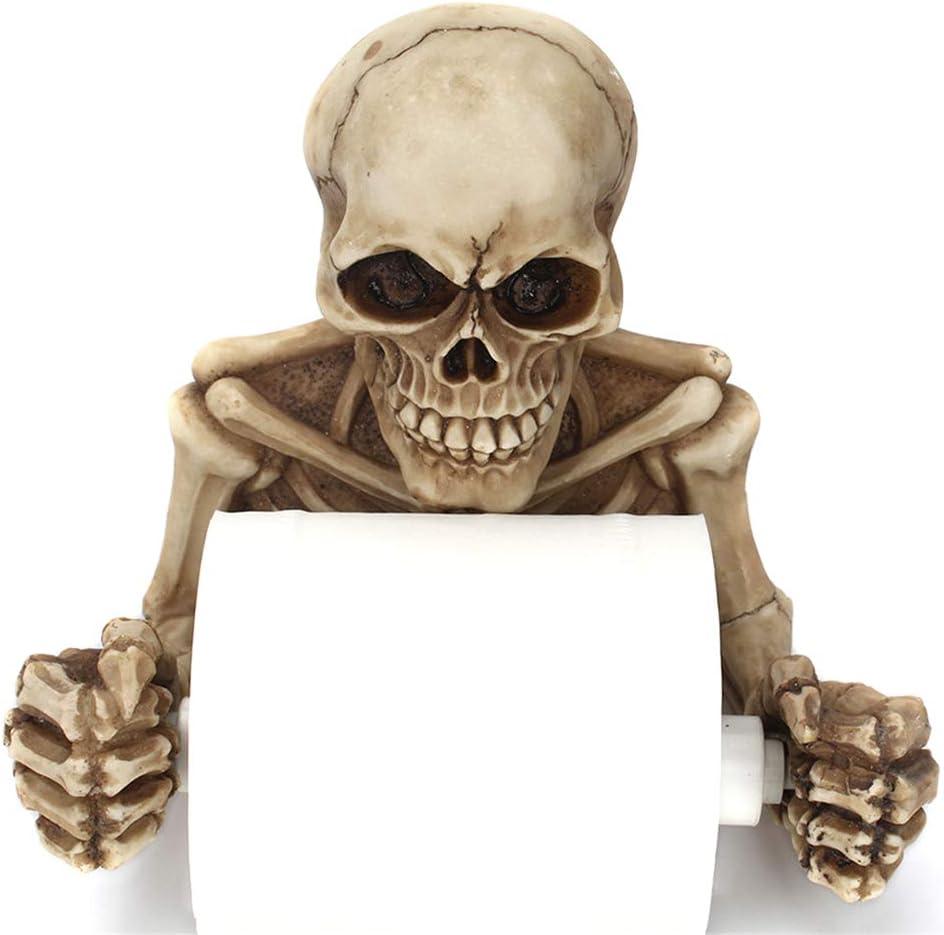 Esqueleto Calaveras Decorativo Titular de Papel Higi/énico en Decoraciones de Halloween de Miedo Como Decoraci/ón de Ba/ño Placas de Pared Esculturas y Accesorios de Ba/ño de Novedad