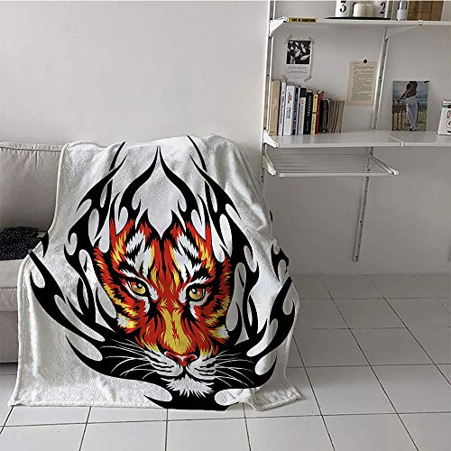 Khaki home Children's Blanket Throw/Travel Blanket for Sofa Couch Bed (60 by 70 Inch,Tattoo,Jungle Prince Tigers Head in Black Flames Frame Looking with Cat Eyes Hunting,Black and Orange]()
