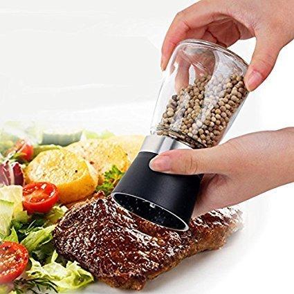 LOHAS Home High Grips Glass Salt or Pepper Grinder, Glass Body Seasoning Bottle, 1-Pack, Black