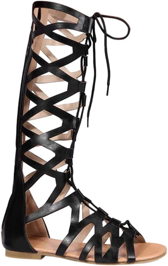 Women Summer Flat Knee High Gladiator Sandal Fashion Casual Open Toe Crisscross Strappy Sandal Boot