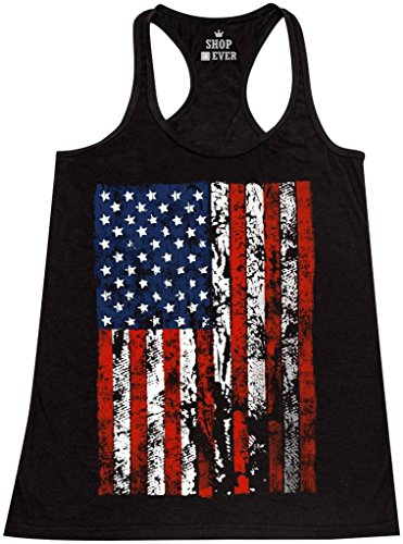 Shop4Ever United States Of America Flag Women's Racerback Tank Top USA Flag Tank Tops Medium Black - Tank Top Flag Usa