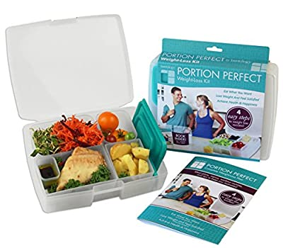 Bentology - Bento Lunch Box with Weight Loss Plan Booklet - Portion Control Container Kit - Clear and Turquoise