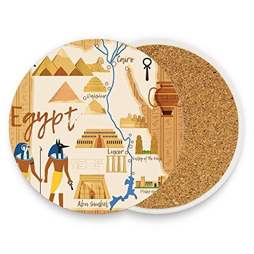 BeautyToiletLidCoverABC Travel Ancient Landmark Sphinx Pyramid Coaster for Drinks,Wallpaper Ceramic Round Cork Table Cup Mat Coaster Pack Of 1