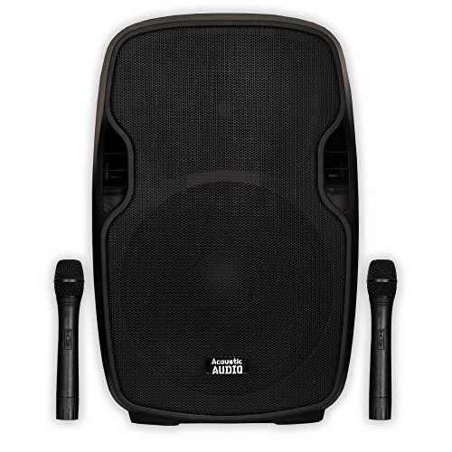 """Acoustic Audio by Goldwood AA154UB Active 1400W 15"""" Bluetooth Battery Powered Speaker 2 Way With Wireless Mics"""