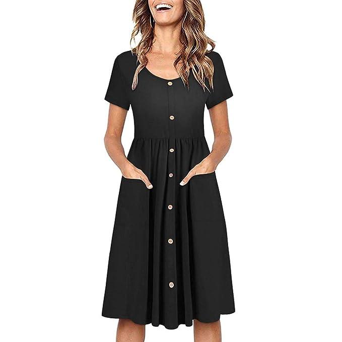 7db438429fc Women s Beach Summer Dresses Boho Button Up Split Floral Print Flowy Party  Sundress with Pockets Black