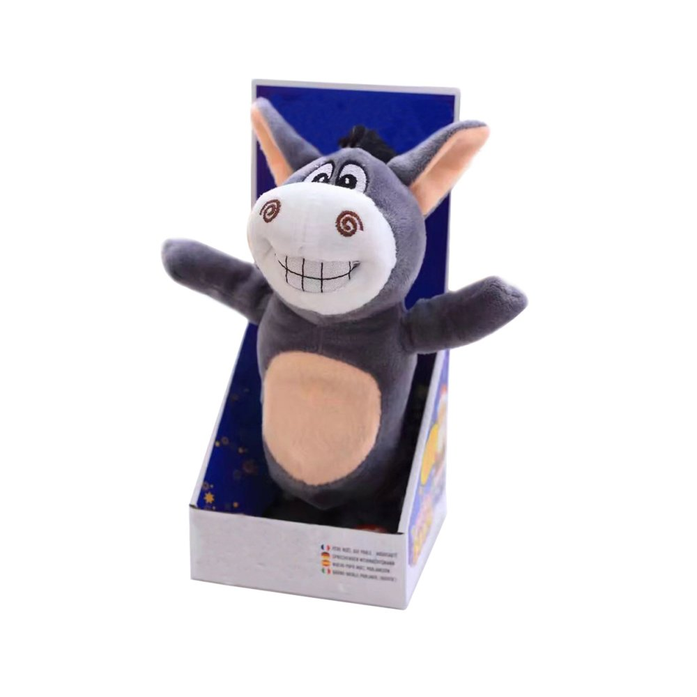 LLZZ New Cute Electric Voice Recording Donkey Can Speak and Talk Interactive Plush Silly Donkey Plush Stuffed Animal Intelligence Toys