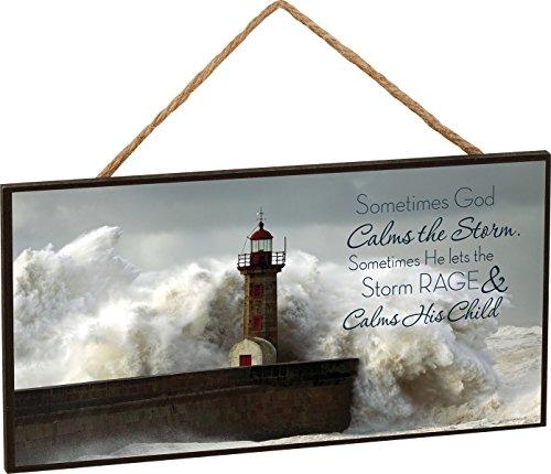 P. GRAHAM DUNN God Calms The Storm Lighthouse Wooden Sign with Jute Rope Hanger