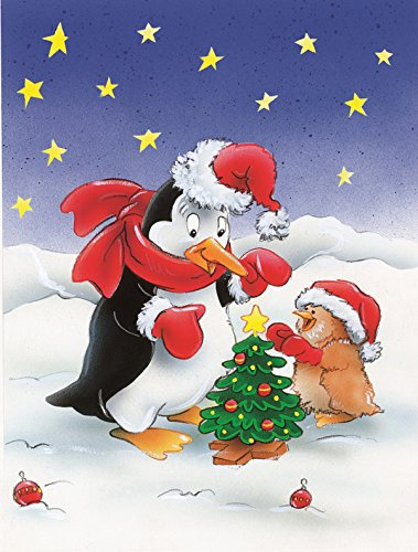 Caroline's Treasures AAH7203CHF Penguin and Robin with Christmas Tree Canvas House Flag, Large, Multicolor