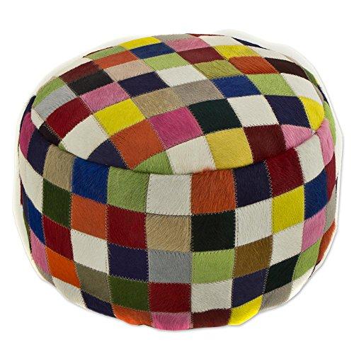 NOVICA Geometric Leather Ottoman Covers, Multicolor, 'Festive Checkerboard' by NOVICA