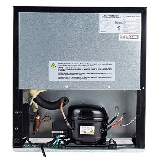 COSTWAY Compact Upright Freezer Mini Steel Door - CUFT Capacity - Removable Shelves