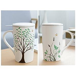 Ceramic Tea-Mug(18 oz) with Infuser and Lid, TEANAGOO-Jupiter, Travel Teaware with Filter 3D Green Tree, Tea Cup Steeper Maker, Brewing Strainer for Loose Leaf Tea,Diffuser mug set for Tea Lover Gift