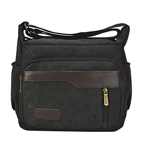 Fabuxry Casual Canvas Cross Body Bags Handbags Shoulder Bags Travel Purses (Black) by Fabuxry (Image #1)