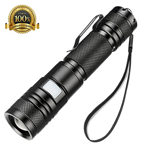 Rechargeable Tactical 1000 Lumen LED Flashlight Telescopic Zoomable Torch Waterproof Bright T6 CREE Light,5 Modes, 18650 Battery, Intelligent Power Indicator, Metal Clip,Usb Cable, Lanyard,for Camping