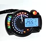ETbotu Motorcycle Modified Dashboard 12V LCD Display Adjustable Oil Meter Water Temperature Meter 2-4 Cylinders