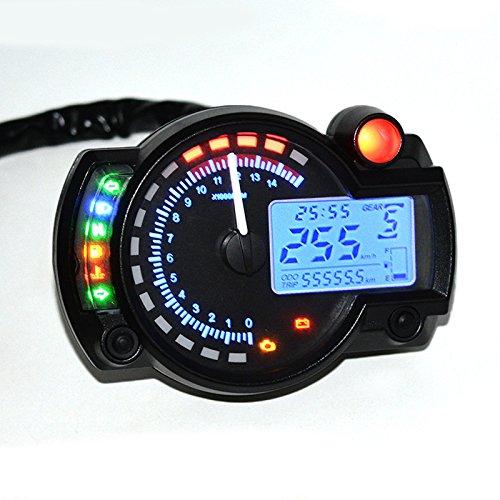 ETbotu Motorcycle Modified Dashboard 12V LCD Display Adjustable Oil Meter Water Temperature Meter 2-4 Cylinders