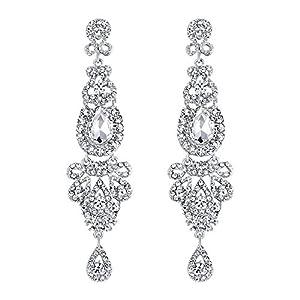 BriLove Women's Wedding Bridal Crystal Art Deco Long Chandelier Dangle Earrings Clear Silver-Tone