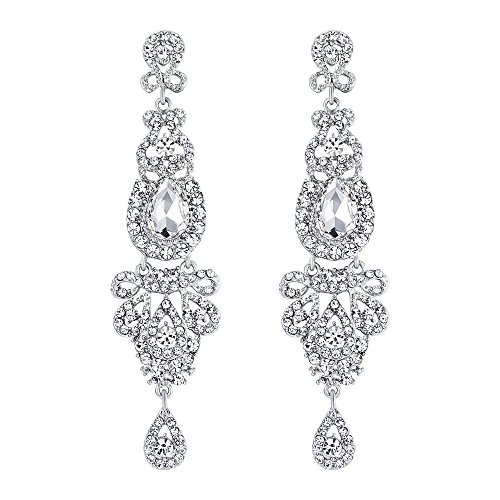 BriLove Women's Wedding Bridal Crystal Art Deco Long Chandelier Dangle Earrings Clear Silver-Tone