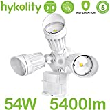 Hykolity 54W PIR Motioin Detector LED Security Light, Infrared Motion Sensor 5400lm Outdoor Wall Mount Floodlight, White [350W Halogen Equivalent] 5000K Waterproof, Adjustable 3 Head