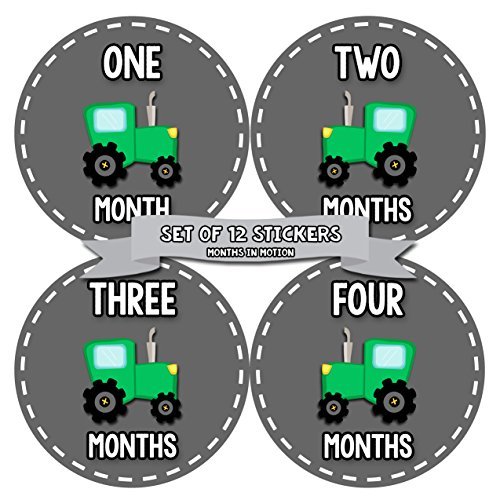 Belly Tractor - Baby Month Stickers for Boy | Monthly Milestone Sticker for Boy | 12 Monthly Milestone Stickers | Baby Monthly Stickers for Infant First Year | Tractor Farm