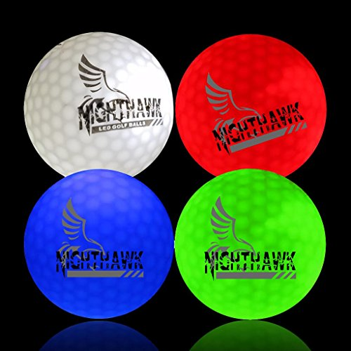4 Nighthawk Glow in Dark LED Light Up Golf Balls Official Size Weight Constant On ()