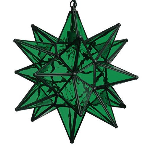 Green Star Pendant Lighting - 15 Inch Moravian Star Pendant Light - Green Glass