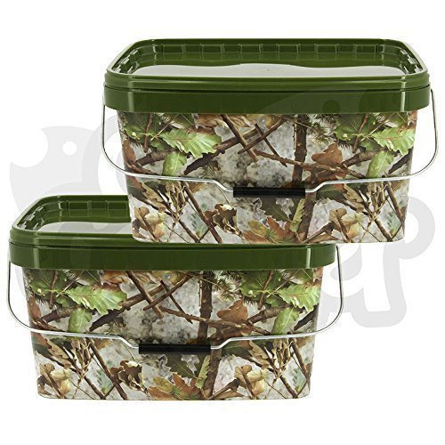 2 x Large Airtight Square Camo 12.5 Litre NGT Fishing Tackle Bait Storage Buckets + Handle DNA