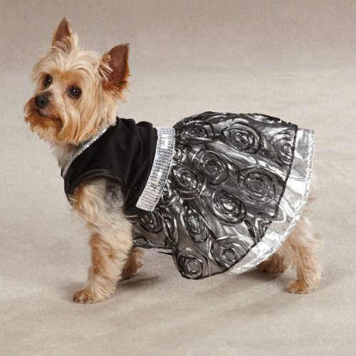 East Side Collection Polyester Glam Dog Dress, Medium, 16-Inch, Silver