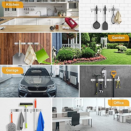 Onlyesh Besenhalterung Wand, Gerätehalter aus Edelstahl mit 3 Halter und 4 Haken für Küche, Bad, Garage und Garten