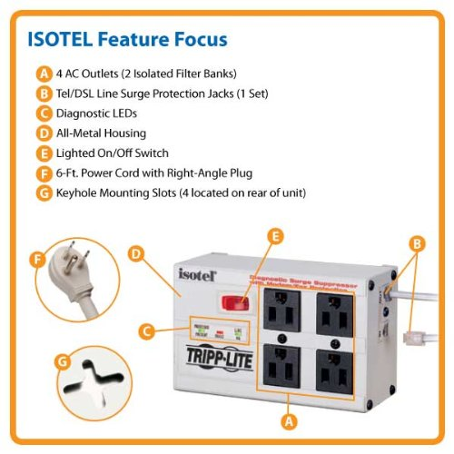 Tripp Lite Isobar 4 Outlet Surge Protector Power Strip, Tel/Modem, 6ft Cord Right Angle Plug, & $50K INSURANCE (ISOTEL)