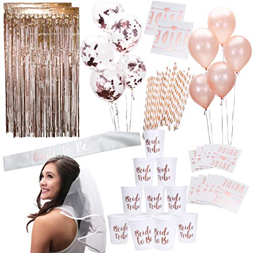 Rose Gold Pink Bachelorette Party Supplies Decorations Kit | Balloons, Backdrop, Cups, Straws, Tattoos, Sash, and Veil]()