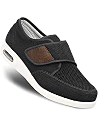 Men's Edema Diabetic Shoes Adjustable Wide Width Outdoor Walking Sneakers Orthopedic Lightweight Comfy Casual Slippers for Elderly Swollen Feet Arthritis Recovery