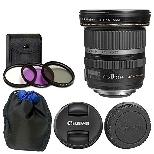Canon EF-S 10-22mm f/3.5-4.5 USM Lens + 77mm 3 Piece Filter Kit + Soft Neoprene Lens Pouch Small 4.5