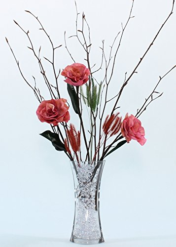 (Green Floral Crafts Burmese Forever Pink Roses & Branches DIY Kitwith Curved Glass Vase)