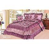 DaDa Bedding BM1202-CK5 5-Piece Dahlia Sateen Comforter Set with Decorative Pins, Cal. King Size, Light Pink