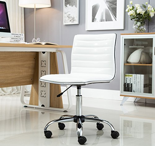 BTExpert Swivel Mid Back Armless Ribbed Designer Task Chair Leather soft upholstery Office Chair - White Photo #6